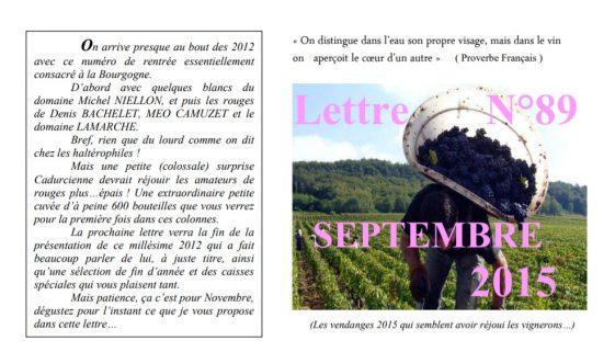 Newsletter 89 september 2015 Vinissime