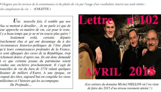 Newsletter 102 avril 2018 Vinissime
