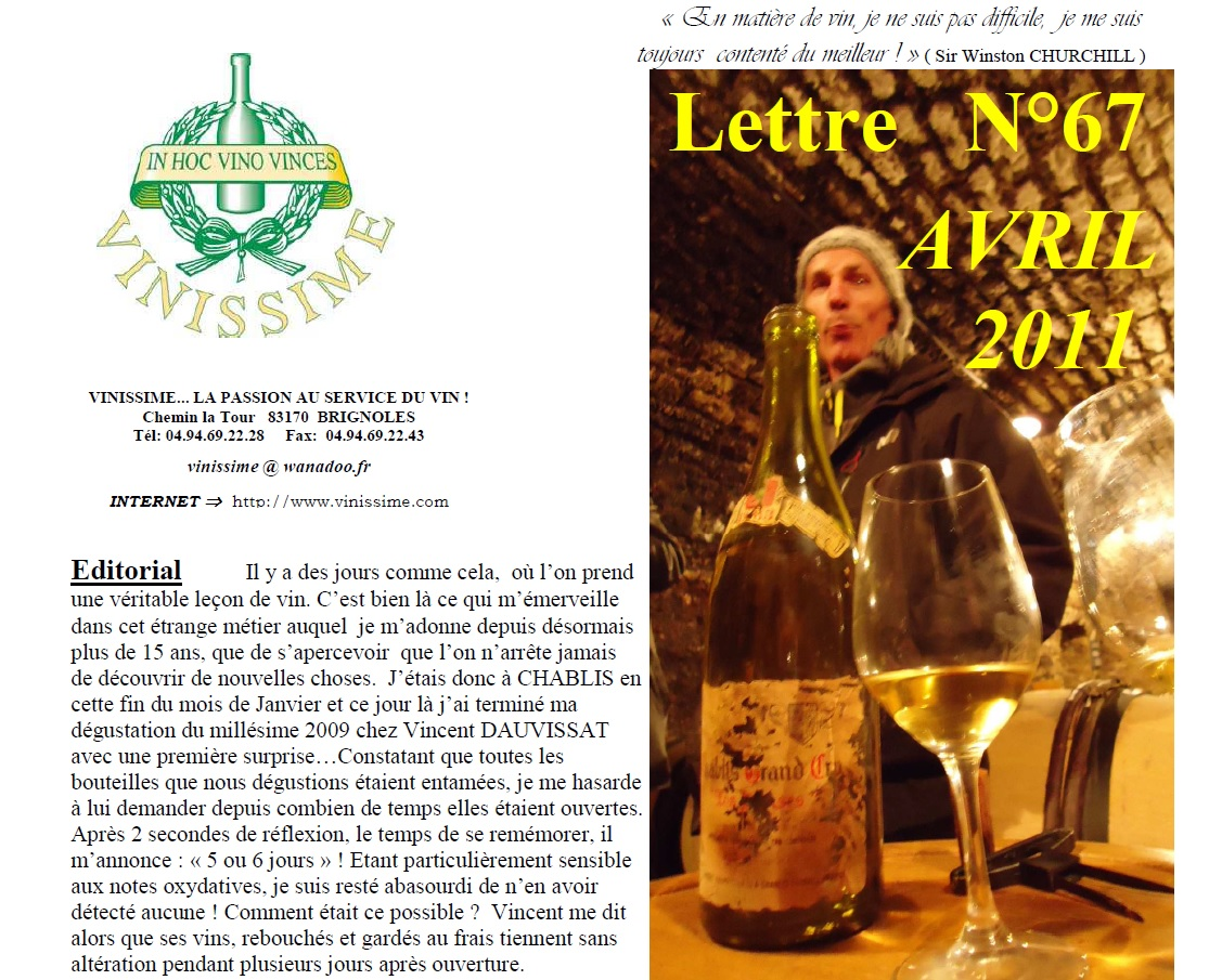 Newsletter 67 avril 2011 Vinissime