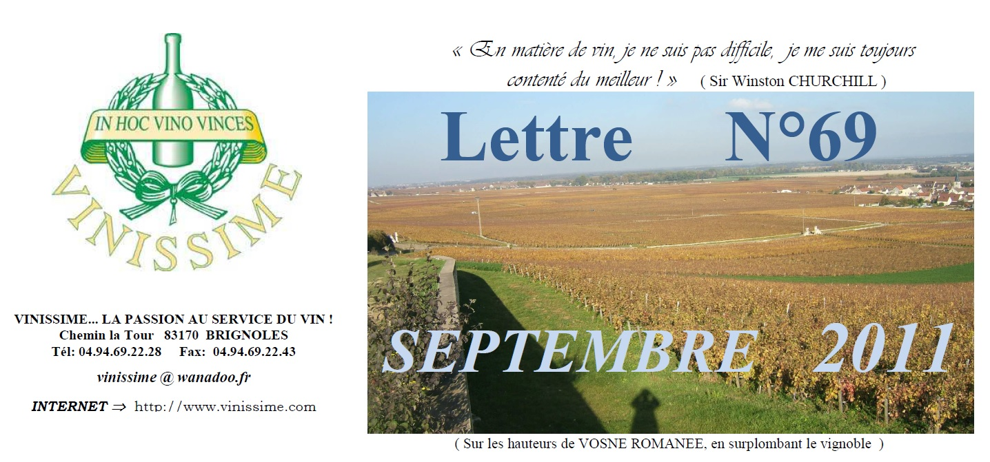 Newsletter 69 Septembre 2011 Vinissime