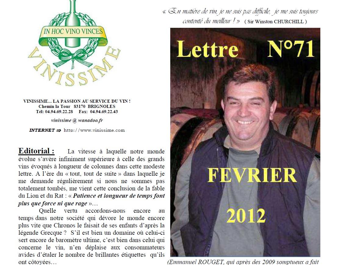 Newsletter 71 Fevrier 2012 Vinissime