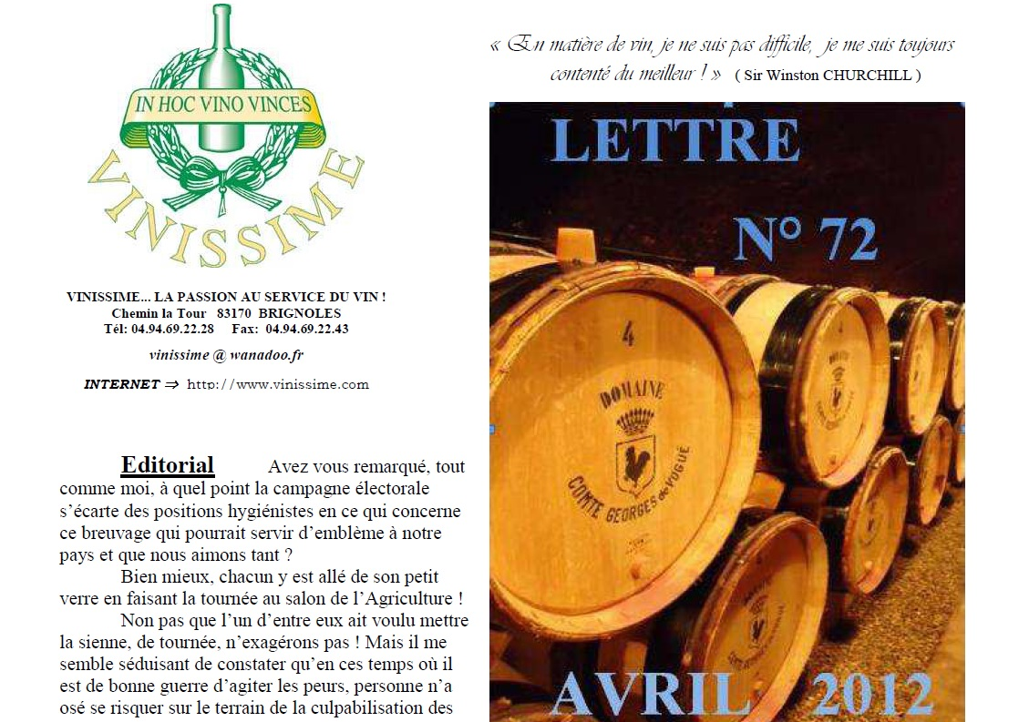 Newsletter 72 April 2012 Vinissime