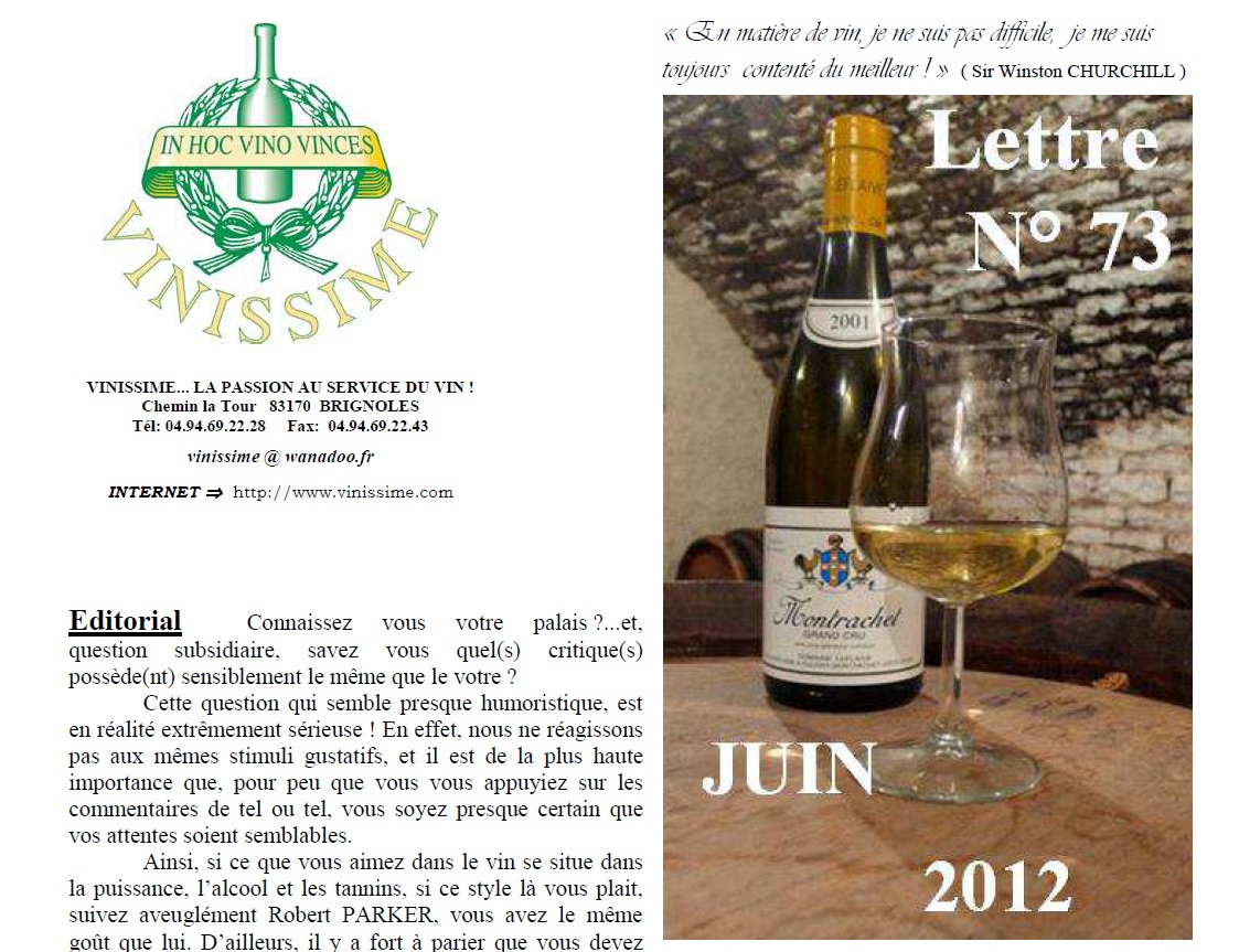 Newsletter 73 Juin 2012 Vinissime