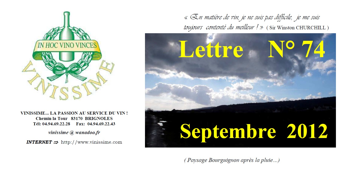 Newsletter 74 Septembre 2012 Vinissime