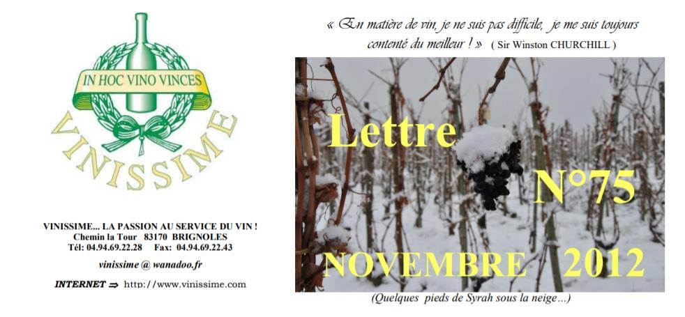 Newsletter 75 novembre 2012 Vinissime vins