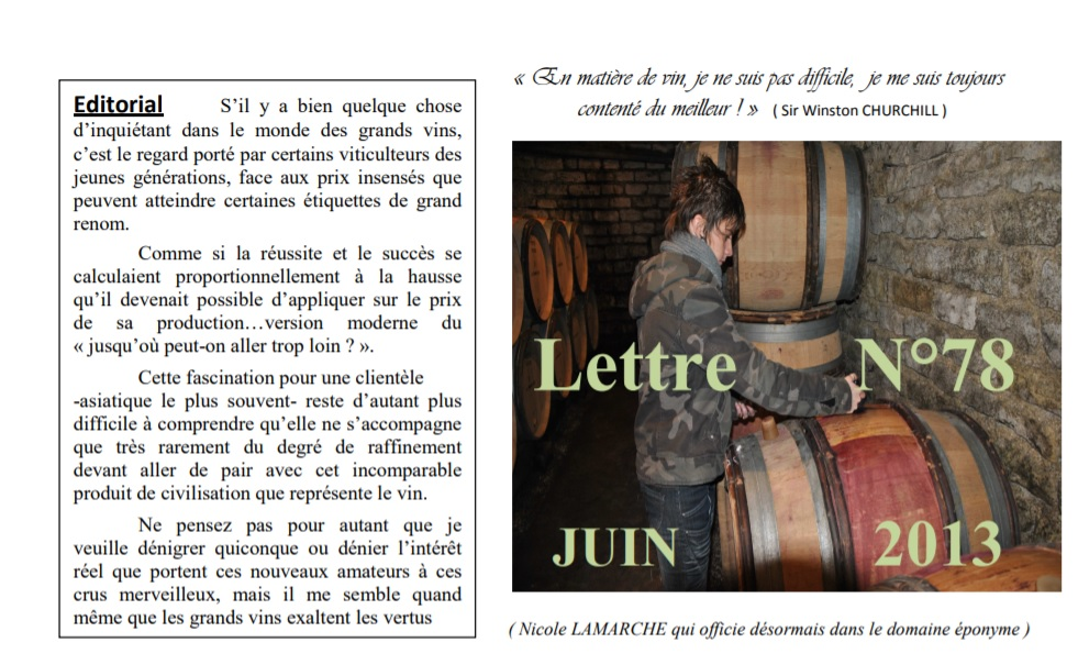 Newsletter 78 juin 2013 Vinissime