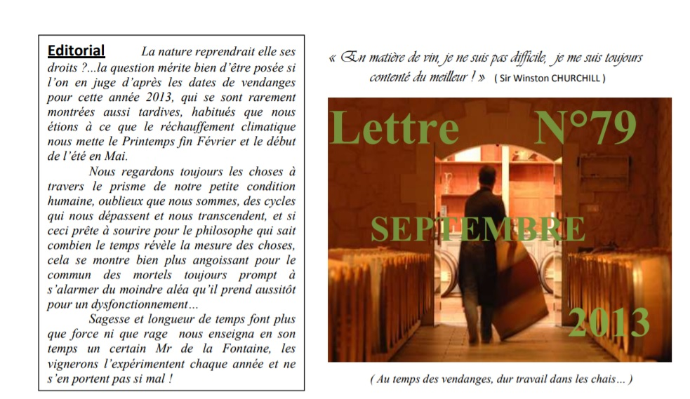 Newsletter 79 septembre 2013 Vinissime