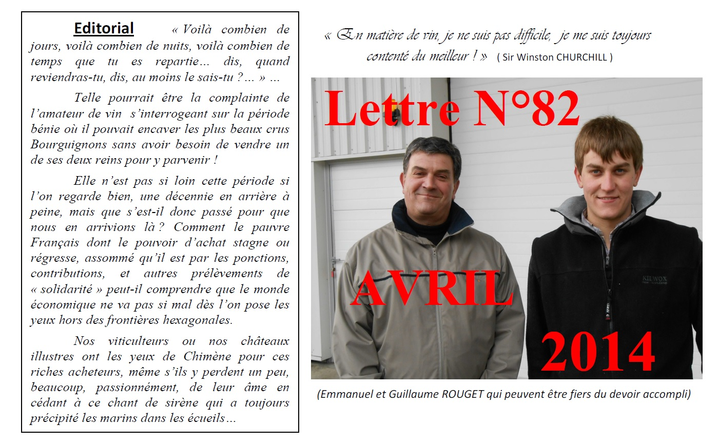 Newsletter 82 Avril 2014 Vinissime