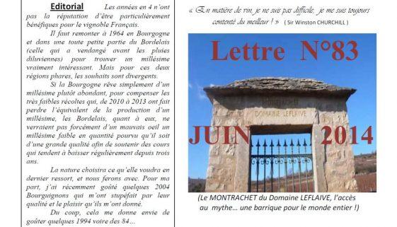 Newsletter 83 Juin 2014 Vinissime