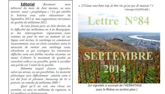 Newsletter 84 Septembre 2014 Vinissime