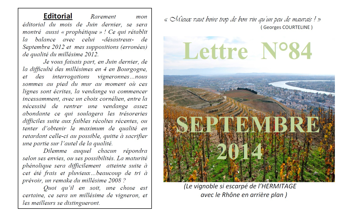 Newsletter 84 Septembre 2014 Vinissime