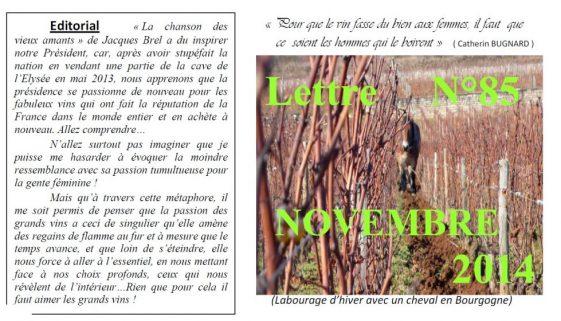 Newsletter 85 Novembre 2014 Vinissime