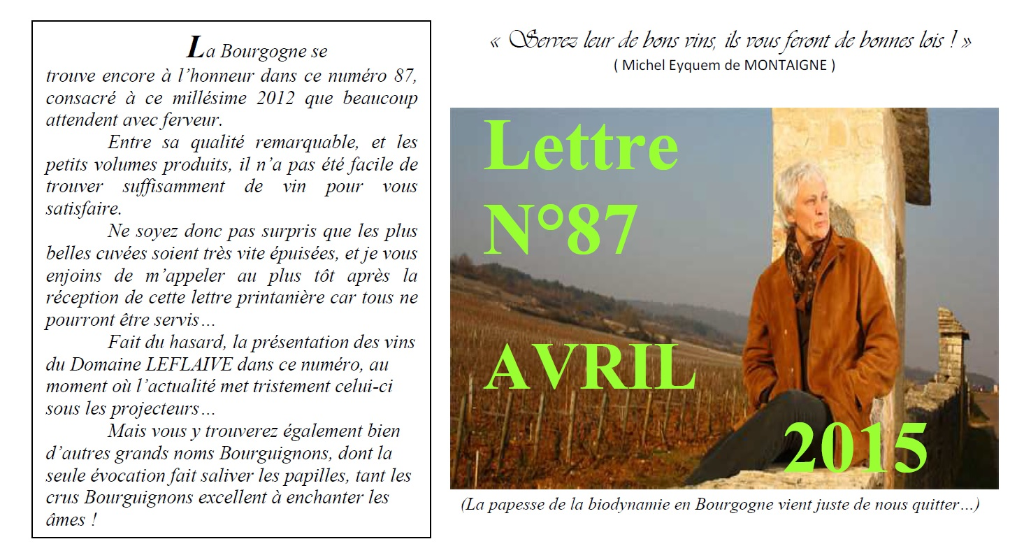 Newsletter 87 Avril 2015 Vinissime