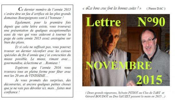 Newsletter 90 Novembre 2015 Vinissime