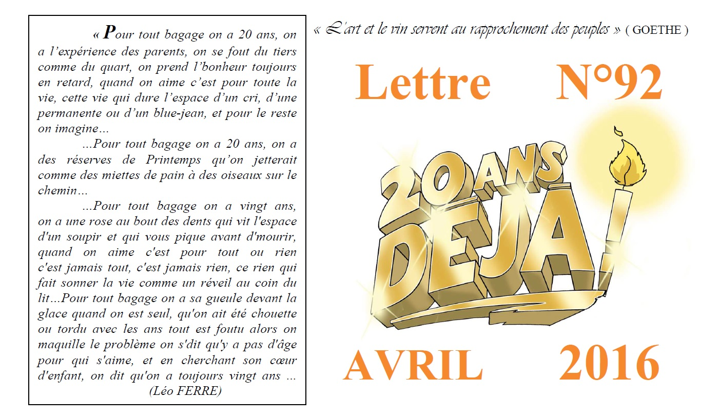 Newsletter 92 Avril 2016
