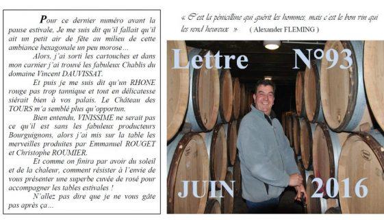 Newsletter 93 Juin 2016 Vinissime