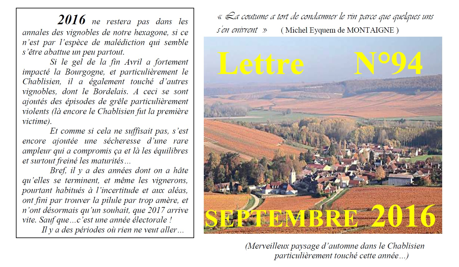 Newsletter 94 Septembre 2016 Vinissime