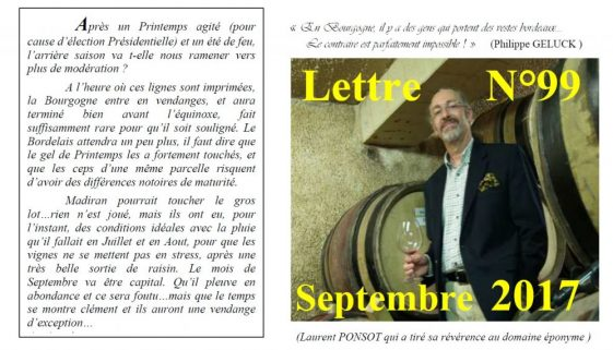 Newsletter 99 Septembre 2017
