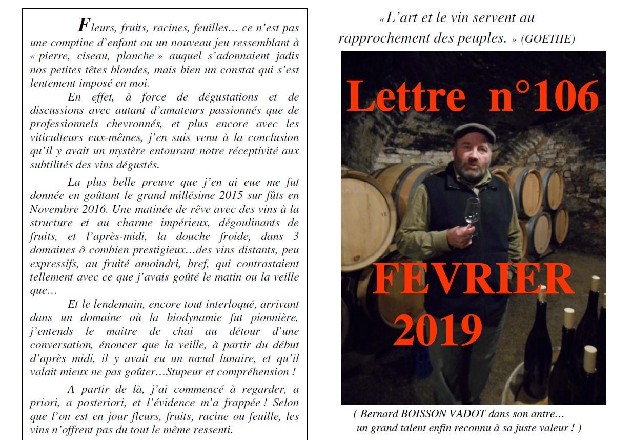 Lettre N° 106 FEVRIER 2019 Vinissime