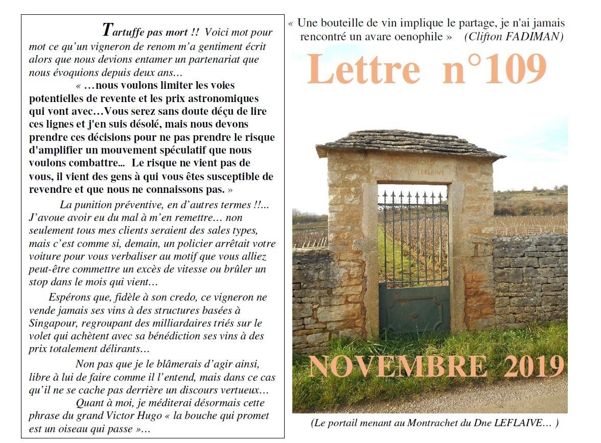 Lettre N° 109 novembre 2019 Vinissime