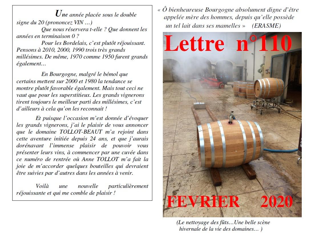 Lettre N° 110 fevrier 2020 Vinissime
