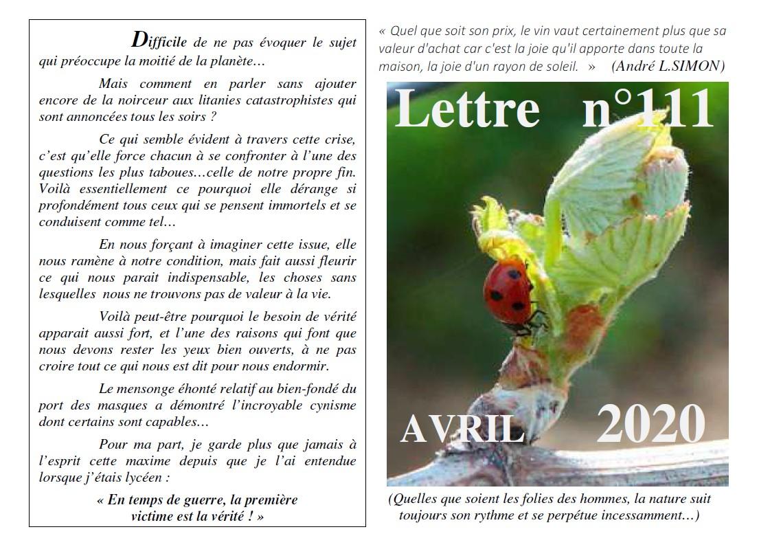 Lettre N° 111 avril 2020 Vinissime