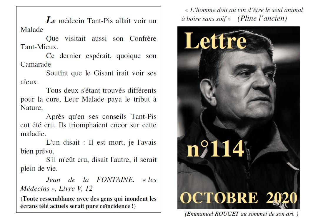 Lettre N° 114 octobre 2020 Vinissime
