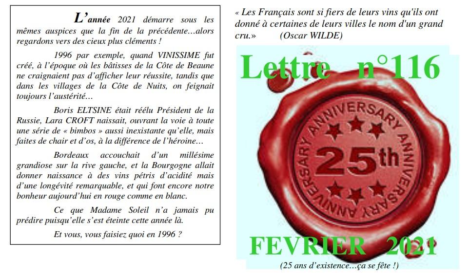 Vinissime lettre 116 Fevrier 2021